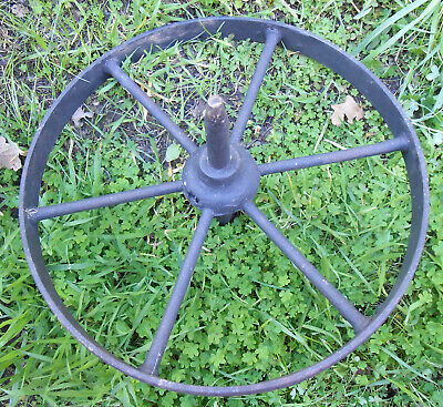 "ANTIQUE HAND FORGED 6 SPOKE 18"" WHEELBARROW WHEEL (Another 15"" Seperate Listing)"