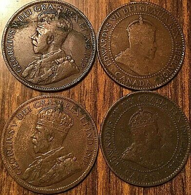 1902 1909 1916 1918 Canada Large Cents Lot Of 4 Coins