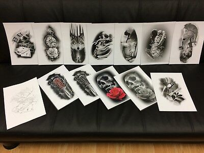 tattoo flash set 3. A4 size blac and grey 10 laminated sheets.with linework!