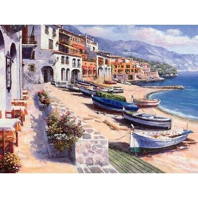 Landscape Sea Boat DIY Digital Oil Paint Painting By Numbers Kit Drawing Canvas