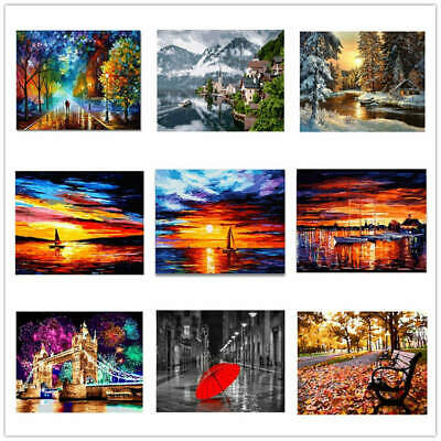 Nature Landscape Scenery Sunset DIY Frame Paint Painting By Numbers Picture Kit