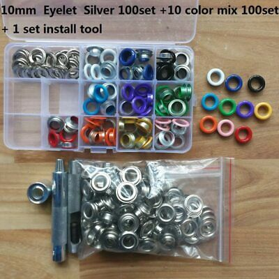 10mm 200 Set Silver & Mix Colour Eyelet & Hole Punch Die Tool Kit DIY Banner