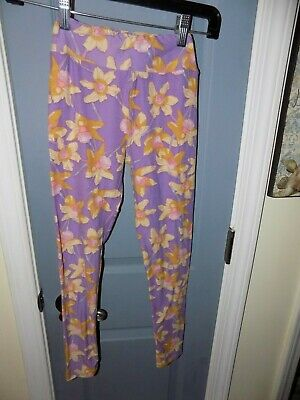 Lularoe  Purple Yellow Floral Daffodil Leggings Size Tween Girl's EUC
