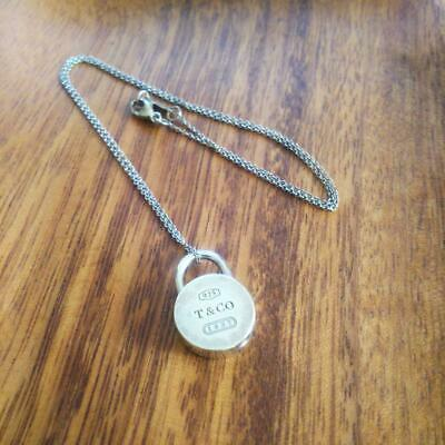 Tiffany & Co. Authentic 1837 Collection Round Lock Pendant Necklace SV 925 RARE