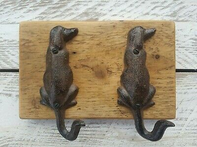 Rustic Vintage Double Dog Gift Lead Coat Hooks Reclaimed Timber Cast Iron Waxed