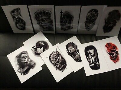 Tattoo Flash Set 5. Black And Grey ,A4 Size Laminated Photo Paper And Lineworks