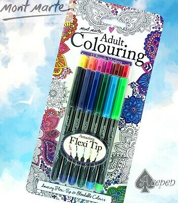 FREE SHIP Mont Marte Adult Colouring 12 colors Brush Markers MPN0104
