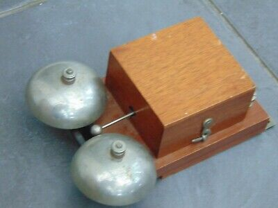 Vintage Retro French Wooden Cased Electric Butlers Door Shop Double Bell