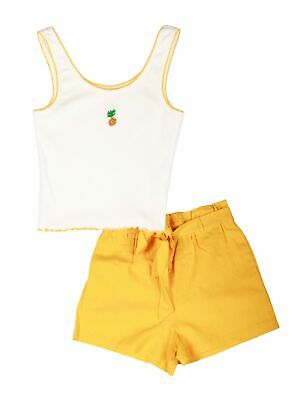 Lori & Jane Big Girls White Pineapple Tank Top Yellow Shorts 2pc Outfit 12-18