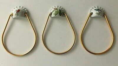 Lot of 3 PORCELAINE De PARIS Towel Hangers (1950) Copper Rings RARE
