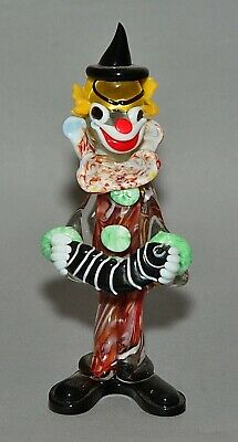 "Vintage Italian Murano Multicolored Glass Clown Figurine w/ Concertina 9"" tall"