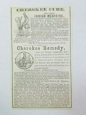 1866 Merwin Cherokee Remedy Indian Druggist Medicines NYC NH Quack Advertisement