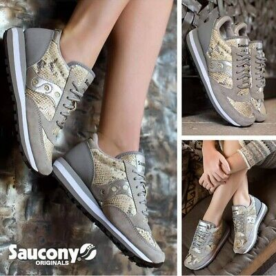 SAUCONY JAZZ TRIPLE da Donna Scarpe Pitonate Grigie in Pelle