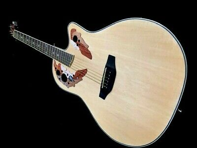 New Natural Ovat.-Style 6 String Acoustic Electric Flame Round Back Guitar