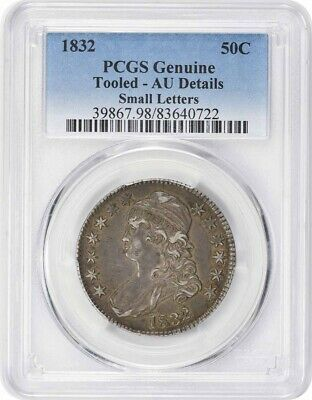 1832 Bust Half Dollar Overton 109 Small Letters Genuine Tooled - AU Details PCGS