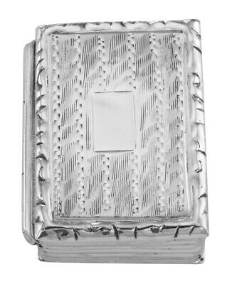 Small Antique Style Etched Engravable Sterling Silver Book Style Pillbox