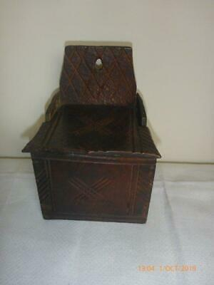 Rare Late 18th Century Rustic Country Oak Candle Box Chip Carved
