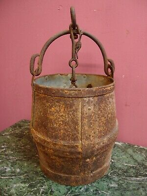 ANTIQUE VINTAGE GALVANISED RIVETED STRAPPED WELL BUCKET with SWIVEL & CHAIN