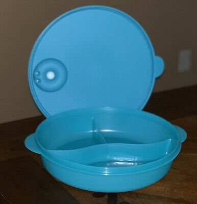 Tupperware New Large Teal Color Microwave Lunch Bowl Divided Dish 2 L/ 8 Cups