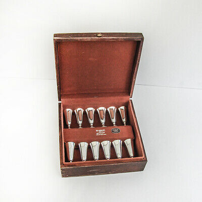 Randahl Shop 12 Cordial Cups Set Sterling Silver 1960 Boxed