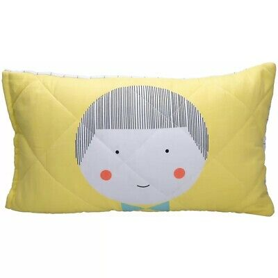 Jack & Jill Organic Cotton Quilted Pillow Cover  - Yellow (Jack) - NEW
