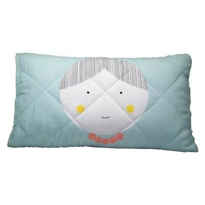 Jack & Jill Organic Cotton Quilted Pillow Cover  - Blue (Jill) - NEW