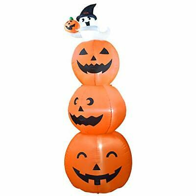 Dreamone 8 Foot Halloween Inflatable Pumpkin with Cute Ghost for Halloween