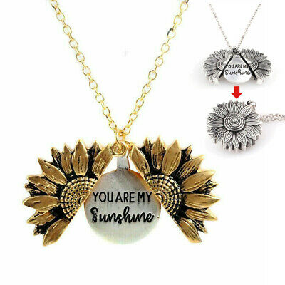 Necklace Custom You are my sunshine Open Locket Sunflower Pendant Necklace
