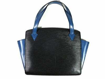 Authentic Louis Vuitton Epi Handbag Varenne M52385 Toledo Blue Black Leather