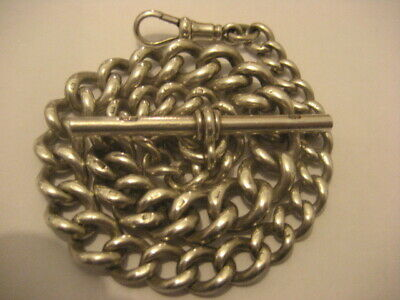 Superb Heavy Antique  Solid Silver Graduated  Albert Chain  Weight 57.9 Grams