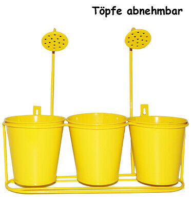 "Funny Flower Pots - "" Yellow "" - from Metal - Hanging Basket & Wandttöpfe - for"