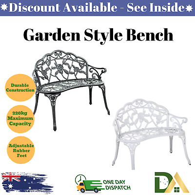 French Garden Style Bench Cast Iron Leg Backrest Outdoor Seat 2 Seater Loveseat