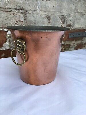 Vintage French Heavy Copper Planter Brass Lion Head Handles