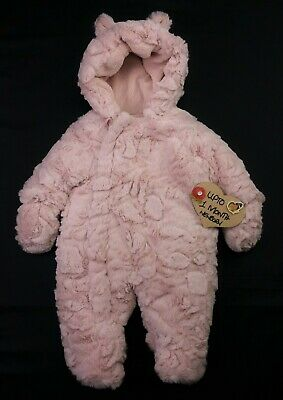 Baby GIRLS Clothes MOTHERCARE Fluffy Snowsuit Pramsuit & Mitts 1 Month 10lbs