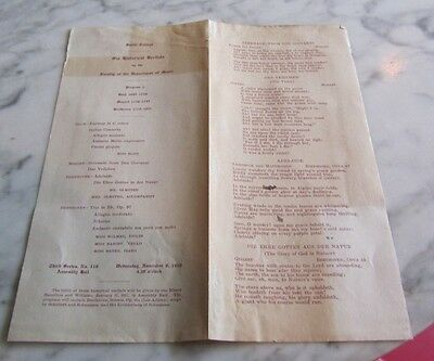 1916 Smith College Recital Concert Program Northampton MA Mozart Beethoven Bach