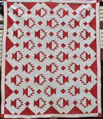 """Red and White Antique """"Baskets"""" Quilt, Diamond Borders, #18638"""