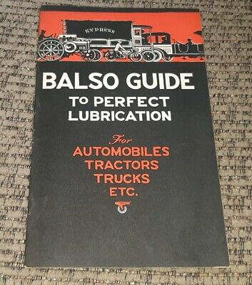 BALSO OIL LUBRICATION GUIDE Automobile Tractor Truck CHART BOOK Toledo Ohio OLD!