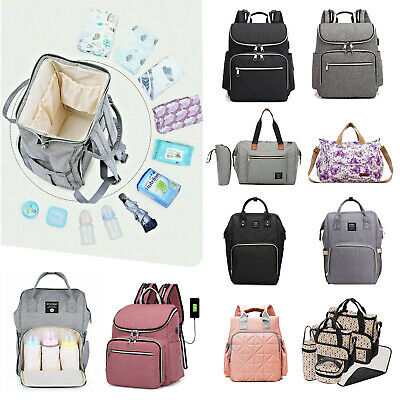 Baby Changing Bag Nappy Diaper Mummy Maternity Messenger Backpack Tote USB port