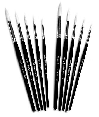 major brushes 6 assorted white synthetic sable artist paint brush