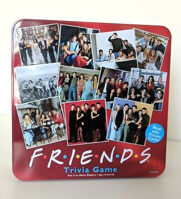 Friends TV Show 2003 Trivia Game with Picture Cards Collectible Red Tin Complete