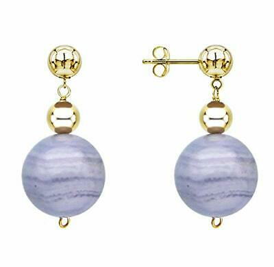 14k Yellow Gold Stud Dangle Earrings with 12mm Blue Agate and 4mm Gold Beads