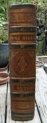 """1821 HUGE antique Holy Bible **17 1/8"""" tall **  beautiful illustrations"""