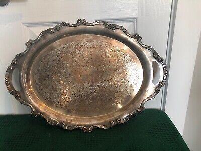 LARGE Antique Victorian Silver (Plated) Metal Serving Platter Tray - Wallace