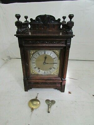 Antique Winterhalder & Hofmeier Oak Cased Striking Bracket Clock