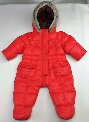 Baby GIRLS Clothes TED BAKER Red Puffa/Puffer Snowsuit Pramsuit 0-3 Months BNWot