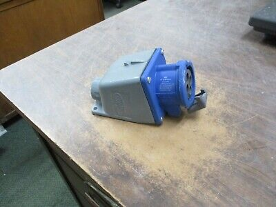 Hubbell Receptacle w/ Base 430R9W 30A 250V 3Ph *Broken Cover* Used