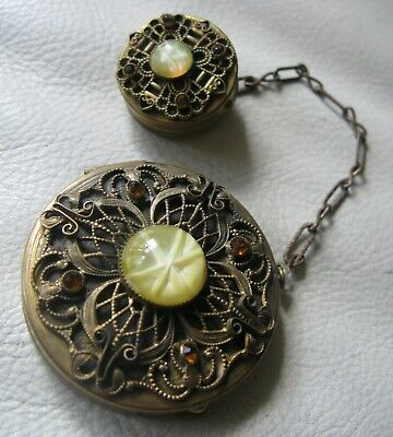 Antique Gold T Filigree Amber Jewel Glass Cat's Eye Rouge Powder Tango Compact
