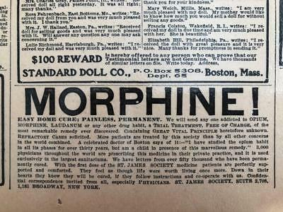 Nov 9, 1902 Newspaper Page - Lj7196B- Morphine! Painless, Permanent, Home Cure