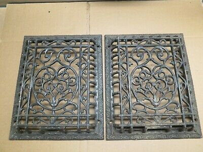 2 Cast Iron grate/vent COVERS ornate Victorian wall raised matching pair