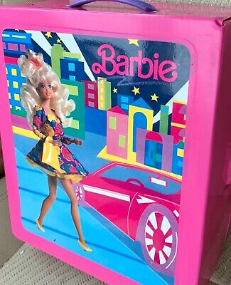 Vintage 1991 Pink City Shopper Style BARBIE Doll Trunk CARRYING CASE